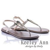 ★2018春夏★Keeley Ann設計美學~三角金屬飾釦全真皮平底T字夾腳涼鞋(米白色)