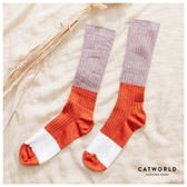 Catworld 復古配色坑條棉質長襪【18900162】‧F