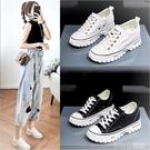 帆布鞋女復古港味2019新款韓版百搭運動鞋內增高厚底小白鞋子 茱莉亞