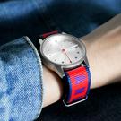 HyperGrand  / NW01BASS / LO-FI 新加坡品牌 首創印花設計 極簡面板 尼龍手錶 銀x紅藍 38mm