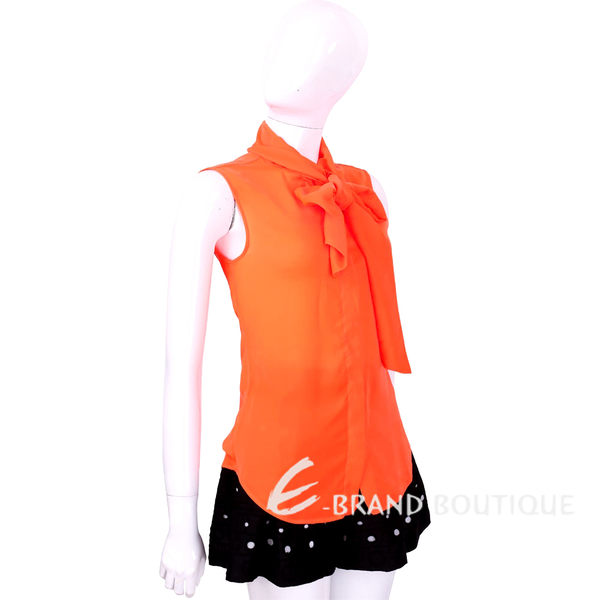 BOUTIQUE MOSCHINO 橘色綁帶領結無袖上衣 1620603-17