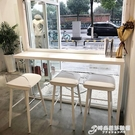 實木小吧台桌陽台北歐簡約廚房窄餐桌椅一體家用高腳靠窗靠墻長條 時尚芭莎