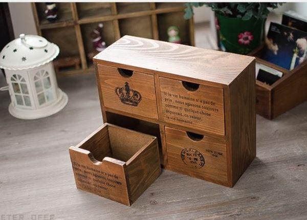 收納盒 原木質實木製四格抽屜皇冠英文款 小置物收納 鄉村桌面上雜物文具儲物盒 zakka- 米鹿家居