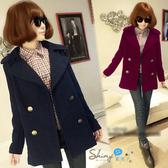 【9485】shiny藍格子-溫暖入冬.簡約翻領雙排釦毛呢短版大衣外套
