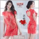 性感睡衣 女性商品 推薦內睡衣《Yiran Mei》迷情愛戀!蕾絲緹花小蓋袖透膚睡衣