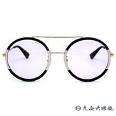 GUCCI 墨鏡 雙槓 圓框 太陽眼鏡 GG0061S 006 黑粉金 久必大眼鏡
