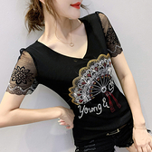 性感短t~時尚重工燙鉆雙層網紗短袖T恤女修身洋氣打底衫H329日韓屋