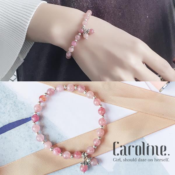 《Caroline》★流行時尚日韓設計天然水晶石榴石招桃花串珠手環69399