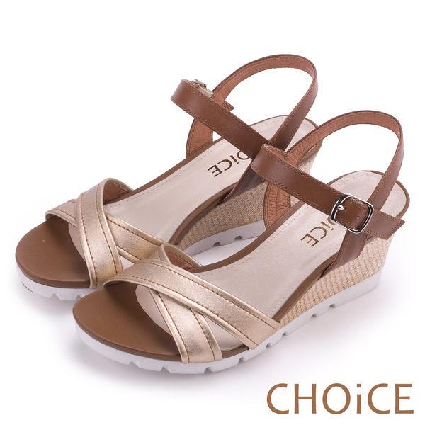 CHOiCE 簡約時尚 寬版交叉真皮縫線楔型編織涼鞋-金色