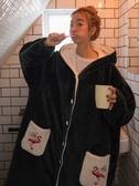 睡衣女季加厚法蘭絨長款睡裙的睡袍家居服【奇趣小屋】