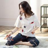 夏季女士短袖睡衣純棉可外穿韓版寬鬆7分褲家居服兩件套裝 易貨居