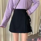 熱賣短裙 半身裙女春季2021新款側邊綁帶設計感高腰顯瘦a字裙短裙潮 coco