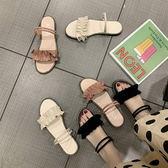 涼鞋氣質緞帶兩穿絨面涼鞋拖鞋【02S10602】