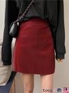 熱賣短裙 高腰皮裙2021新款春秋季黑色a字裙短裙女酒紅色半身裙包臀裙裙子 coco