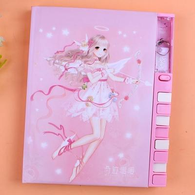 記事本 日記本密碼鎖本子小學生 奇蹟暖暖可愛少女心指紋精致帶鎖的加密插畫筆記本