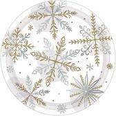 聖誕 餐具 7吋圓盤8入-閃亮雪花