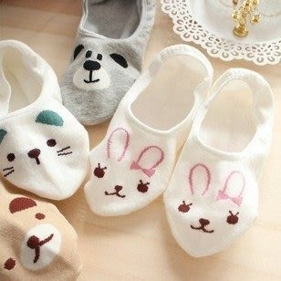 ►隱形船襪 韓國新款可愛卡通小熊貓咪兔子純棉襪【B7028】