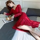 歐媛韓版 禮服洋裝 女裝ol氣質蕾絲宴會禮服裙 修身V領內搭魚尾連身裙 店慶降價