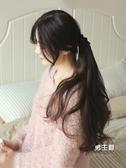 假髮 低馬尾假髮女綁帶式逼真假馬尾大波浪長髮尾辮子氣質中長卷髮片 快速出貨
