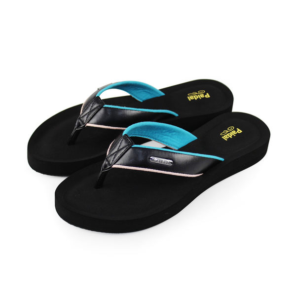 Paidal 優雅皮質感膨膨氣墊美型厚底夾腳拖鞋涼鞋-優雅黑