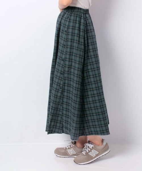 「Hot item」格紋配色側排釦設計長裙 - Green Parks