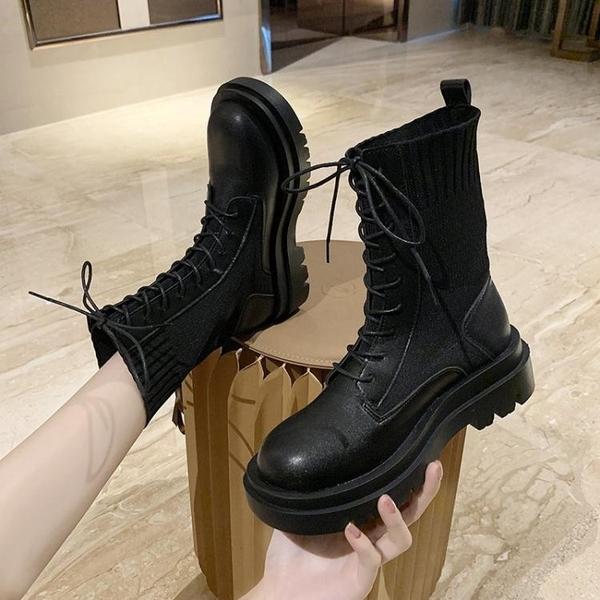 現貨 長靴英倫風馬丁靴女夏季新款薄款百搭短筒繫帶騎士靴女靴