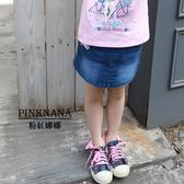 粉紅娜娜童裝 女大童刷白牛仔褲裙36135
