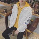 青少年秋季薄款牛仔上衣韓版潮流修身夾克男士高初中學生帥氣外套  非凡小鋪