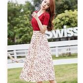 紅色針織V領優雅愛心及膝裙兩件套(紅上衣+印花及膝裙)宴會上班洋裝[99192-QF]小三衣藏