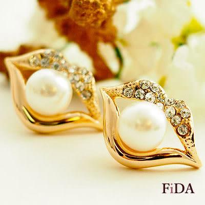 耳環 紅唇 魅力唇色 珍珠鑲鑽耳環- FiDA