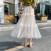 荷葉邊拼接半身紗裙女2020年春夏仙女裙