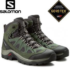 【SALOMON 索羅門 男款AUTHENTIC GORE-TEX中筒登山鞋《灰/綠/白》】390409/中筒/登山鞋/健行★滿額送
