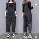 新款韓版寬鬆歐貨牛仔背帶褲女士顯瘦減齡闊腿老爹長褲潮「時尚彩紅屋」