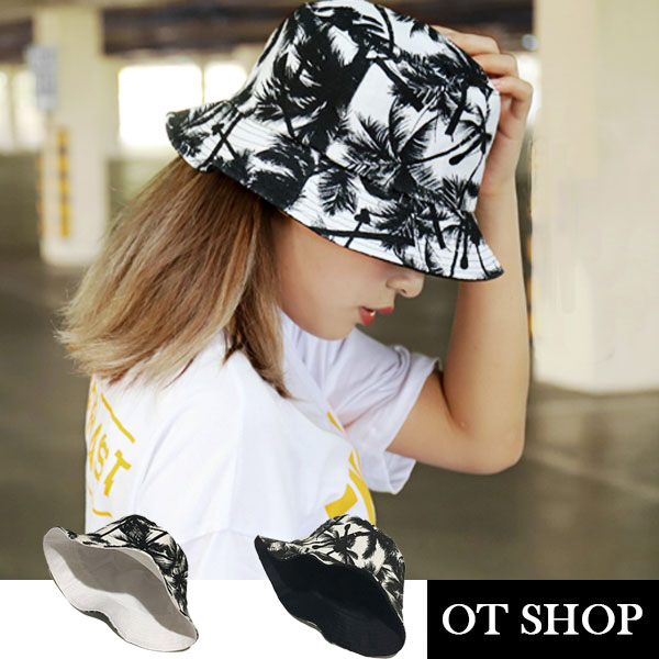 OT SHOP帽子·椰葉/素面雙面穿戴·棉質漁夫帽遮陽帽盆帽·韓版男女休閒沙灘穿搭·現貨·C2026