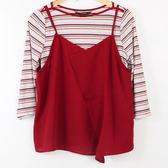 【MASTINA】兩件式喜氣紅條紋長袖-紅 冬末好康