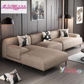 L型沙發 北歐布藝沙發客廳整裝組合左右貴妃定制免洗布L型乳膠拆洗網紅款L型沙發T