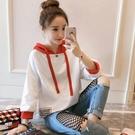2021春裝新款七分袖連帽衛衣女半袖T恤學生韓版寬鬆白色網紅 快速出貨
