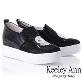 ★2018秋冬★Keeley Ann俏皮可愛~流行水鑽內增高真皮軟墊休閒鞋(黑色) -Ann系列