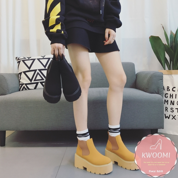 馬丁靴 素面好穿脫厚底英倫風 短靴 裸靴 踝靴*Kwoomi-A94