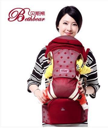 貝斯熊嬰兒背帶寶寶背袋多功能初生小孩抱帶夏季透氣款腰凳 (透氣款)-炫彩腳丫折扣店