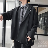 新款港風西裝外套男韓版寬鬆休閒復古小西服潮流學生單 優尚良品