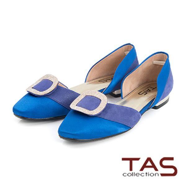 TAS金屬水鑽方型飾釦側鏤空低跟鞋-摩登藍