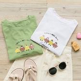 MUMU【T82535】四個小人印花寬鬆短袖上衣。白/綠