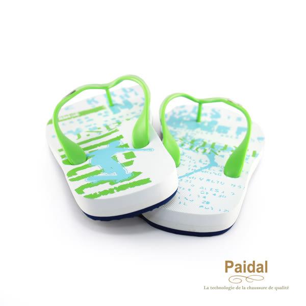 Paidal 男款極限運動塗鴉風男足弓款夾腳拖鞋海灘拖鞋-綠