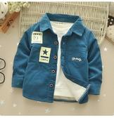 兒童燈芯絨襯衫冬款男童寶寶加厚保暖純棉字母小童襯衣外套促銷好物