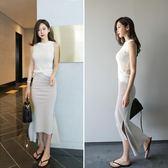 夏裝韓版修身不規則半身長裙高腰魚尾半身包臀裙雙開叉一步裙 GB3602『樂愛居家館』