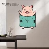 可愛小豬石英掛鐘創意牆面裝飾壁鐘掛錶靜音