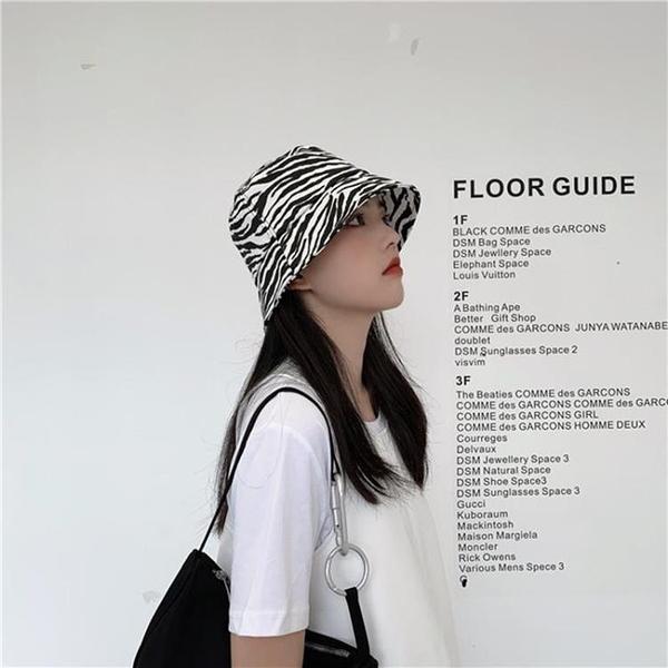2021新品促銷 斑馬紋復古漁夫帽夏季防曬洋氣時尚帽子女韓版日系水桶遮陽盆帽