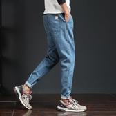 日繫復古鬆緊腰牛仔褲男寬鬆潮流九分褲簡約百搭哈倫韓版學生小腳 koko時裝店
