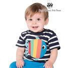 繽紛彩色魚圖案條紋棉T 兒童短袖上衣  ...
